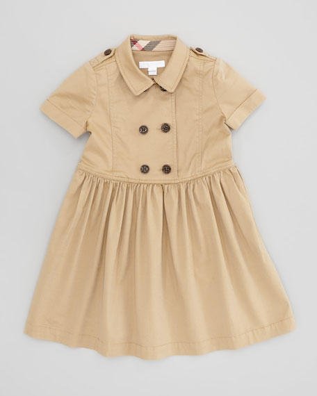 Girls' Trench Coat Dress, Honey, 4Y-10Y