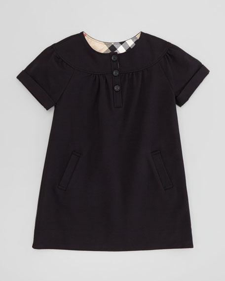 Girls' Button-Front Dress, Black, 4Y-10Y