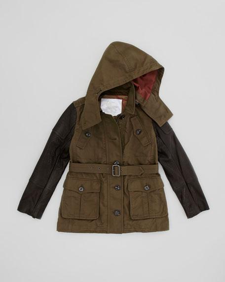 Girls' Waxed Jacket with Biker Sleeves, Bulrush, 4Y-10Y