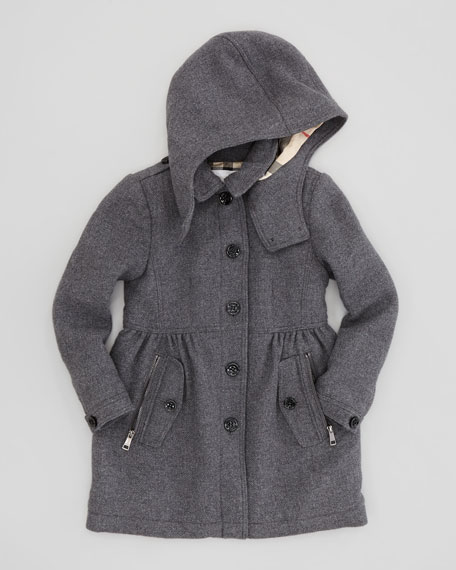 Girls' Hooded Wool-Blend Trench Coat, Mid Gray