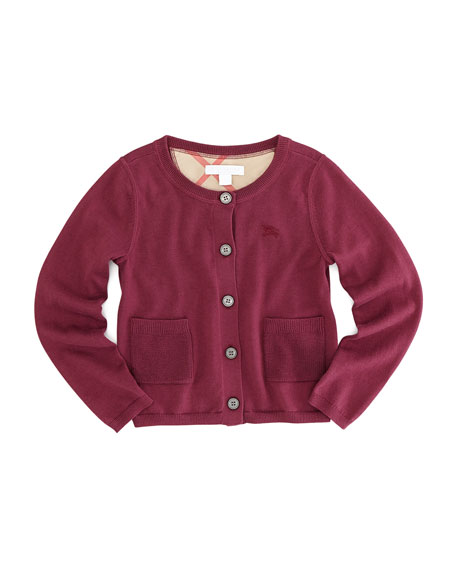 Girls' Knit Cardigan, Claret Pink