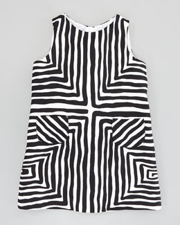 Milly Minis Pocket Shift Dress, Black/White, Sizes 2-6