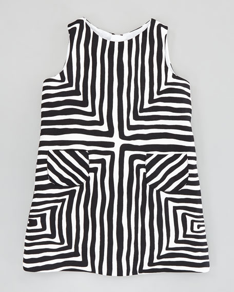 Pocket Shift Dress, Black/White, Sizes 2-6
