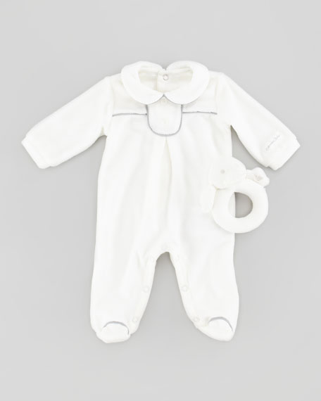 Footie with Rattle Gift Set, Off White