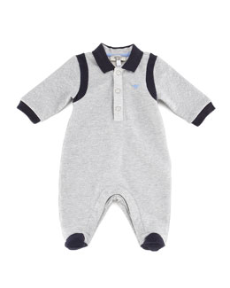 Armani Junior Boys' Patterned Footie, Gray/Navy, 3-9 months