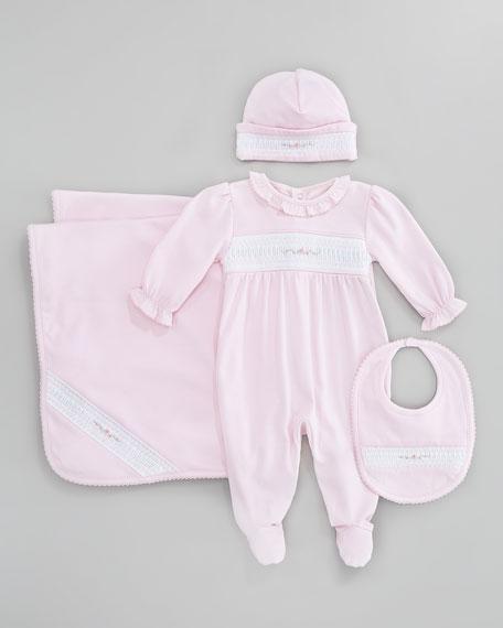 Rosebuds Baby Footie Playsuit, Pink