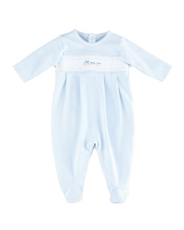 Kissy Kissy Choo Choo Footie Playsuit, Light Blue