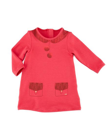 Trompe l'Oeil Fleece Shirt Dress, Pink, 3-18 Months
