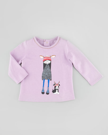 Long-Sleeve Dog-Walker Graphic Tee, Lilac, 3-18 Months