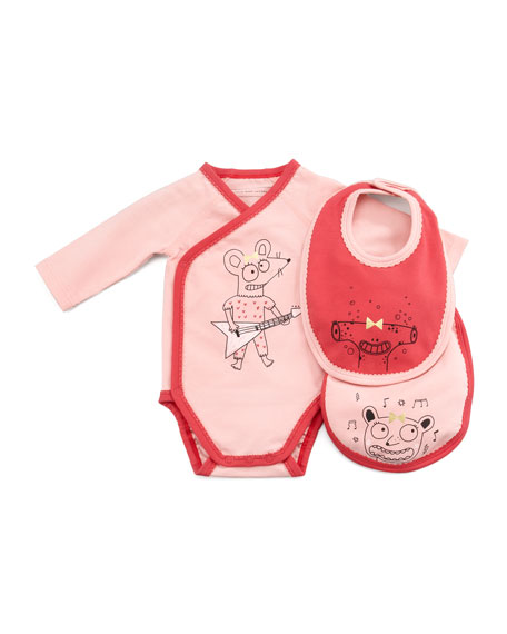 Long-Sleeve Mouse Guitarist  Playsuit & Bib Set, 3-12 Months
