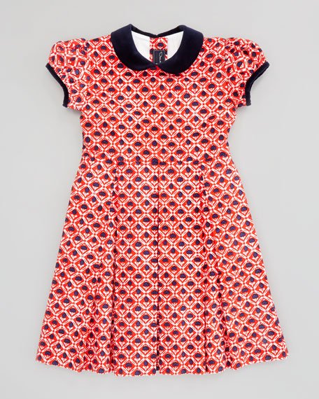 Girls' Floral-Print Pleated Dress, Red