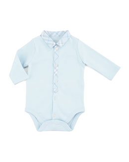 Burberry Newborn Check-Collar Playsuit, Porcelain Blue