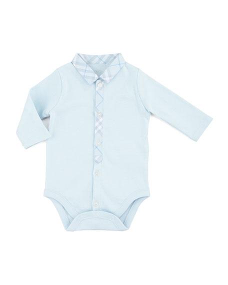 Newborn Check-Collar Playsuit, Porcelain Blue