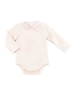 Burberry Peter Pan-Collar Long-Sleeve Playsuit, Newborn
