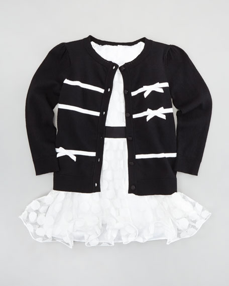 Ribbon Bow Cardigan, Black, Sizes 8-10