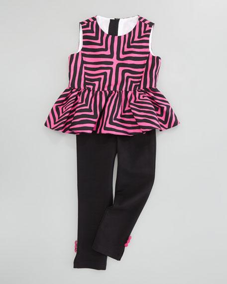 Pippa Peplum Top, Pink/Black, Sizes 8-10