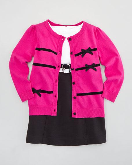 Ribbon Bow Cardigan, Pink, Sizes 8-10