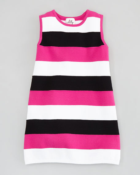 Striped Knit Shift Dress, 8-10
