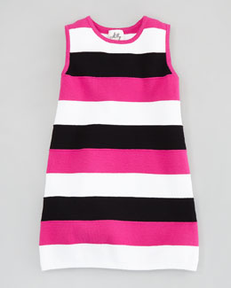 Milly Minis Stripe Shift Knit Dress, Pink/Black/White, Sizes 2-6/7