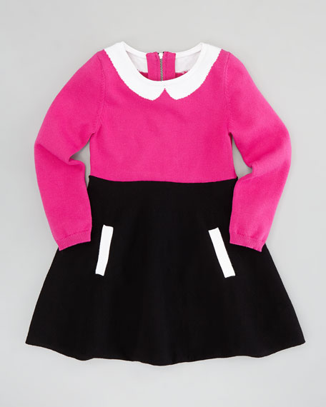 Amanda Collar Dress, Pink/Black, Sizes 2-6/7