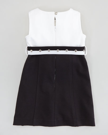 Cece Combo Belted Dress, White/Black, Sizes 8-10