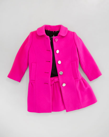 Zoey Peplum Coat, Shock Pink, Sizes 2-6