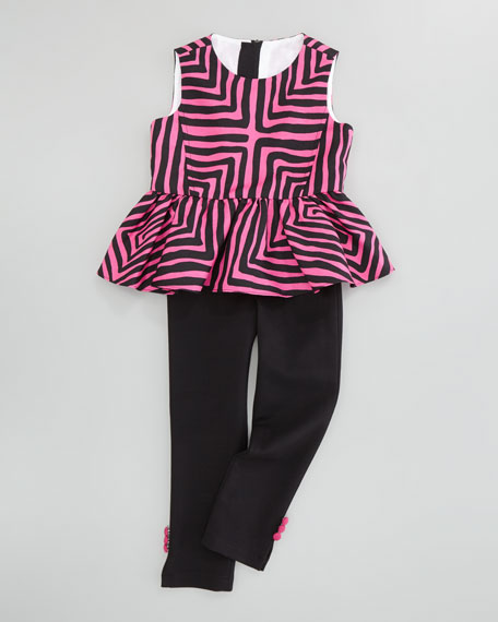 Ponti Leggings with Button Accents, Black, Sizes 8-10