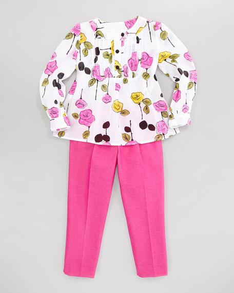 Floral-Print Pintuck Blouse, Sizes 8-10