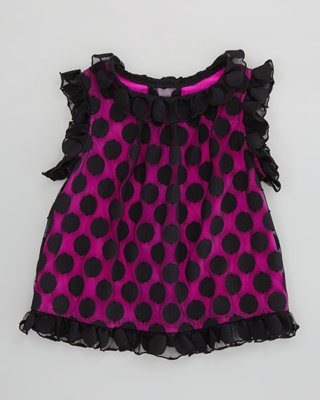 Chloe Polka-Dot Top, Black/Pink, Sizes 2-6