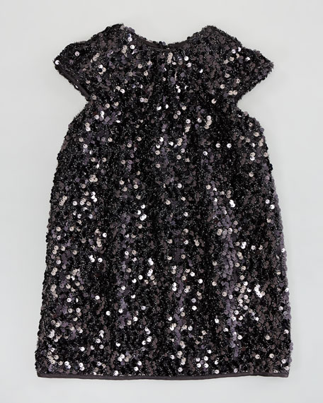 Daisy Cap-Sleeve Sequin Dress, Black, Sizes 8-10