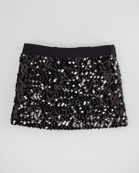 Sequin Miniskirt, Black, Sizes 8-10