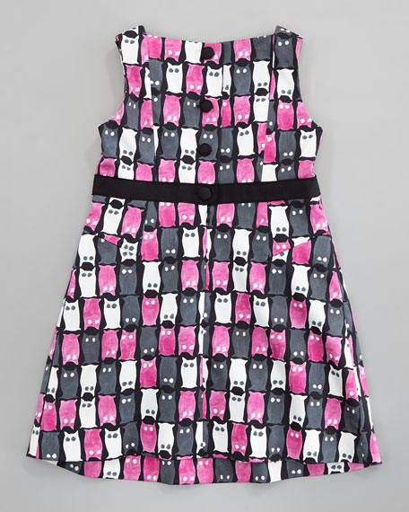Owl-Print Colette Shift Dress, Pink, Sizes 2-6