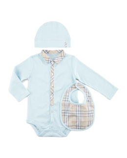 Burberry Boy's Check Newborn Set, Porcelain Blue, 12 months