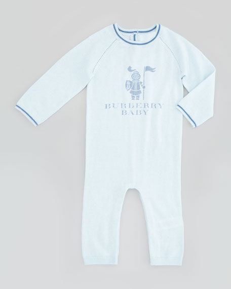 Newborn Cotton/Cashmere Coverall, Porcelain Blue, 3-18 Months