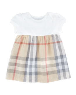 Burberry Infant Girls' Check Dress, Pale Trench Check