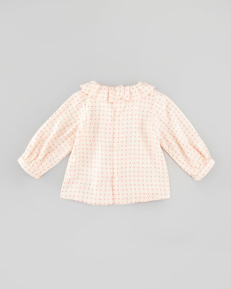 Floral-Print Soft-Twill Blouse, Rose, 3-18 Months