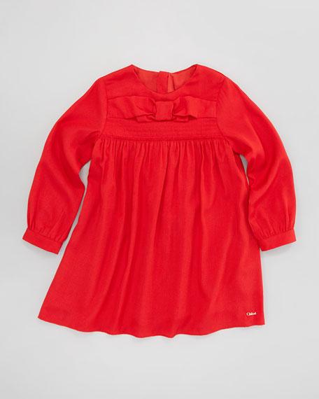 Crepe de Chine Bow-Front Dress, Sizes 4-10
