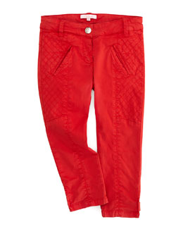 Chloe Satin Quilted-Panel Pants, Red, Sizes 6-10