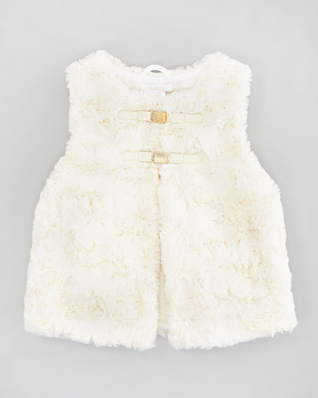 Faux-Fur Vest, Off-White, Sizes 2-5