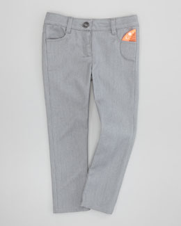 Little Marc Jacobs Shiny Slim-Fit Denim Jeans, Gray, 6Y-10Y