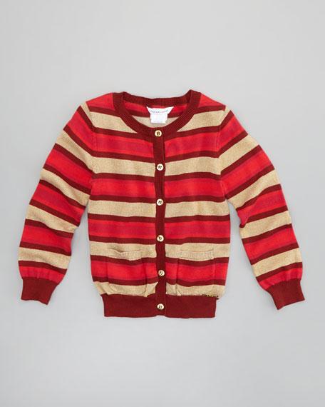 Shimmer-Stripe Knit Cardigan, Sizes 2-5