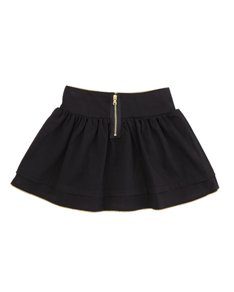 Gold-Piped Layered Skirt, Sizes 6-10