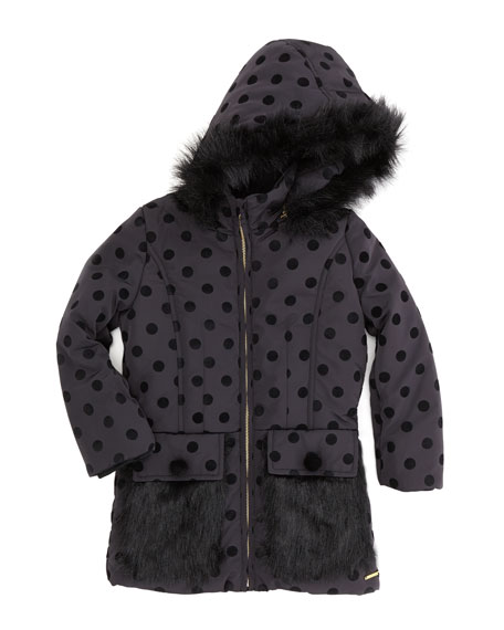 Faux-Fur Dot Jacket, Black, Sizes 2-5