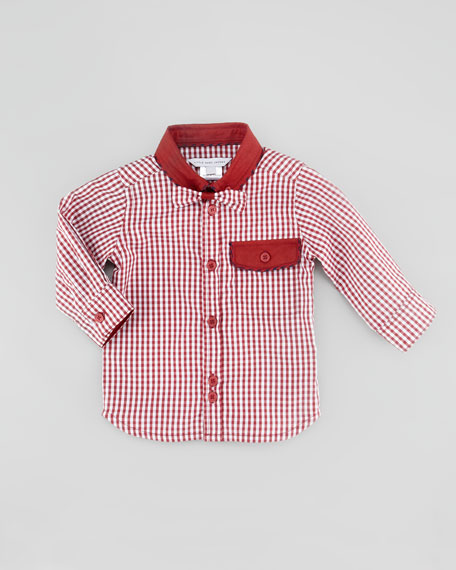 Gingham Woven Shirt with Bow Tie, Burgundy, 3-18 Months