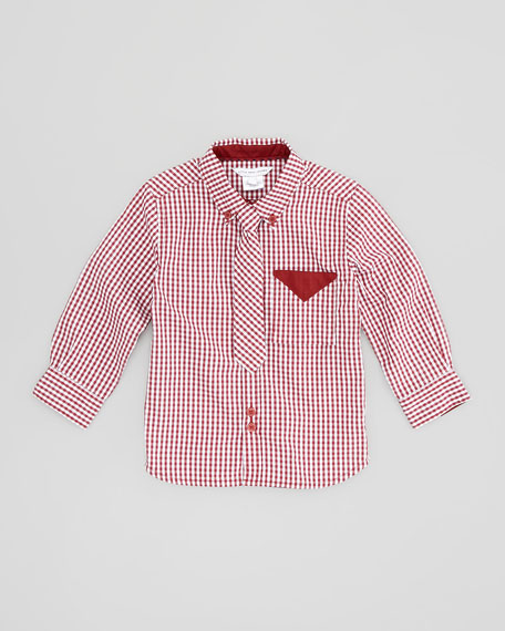 Gingham Shirt with Tie, Burgundy, Sizes 6-10