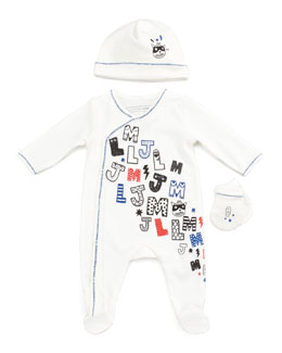 Little Marc Jacobs Newborn Boys' LMJ Footie, Hat & Mitt Gift Set, Off White