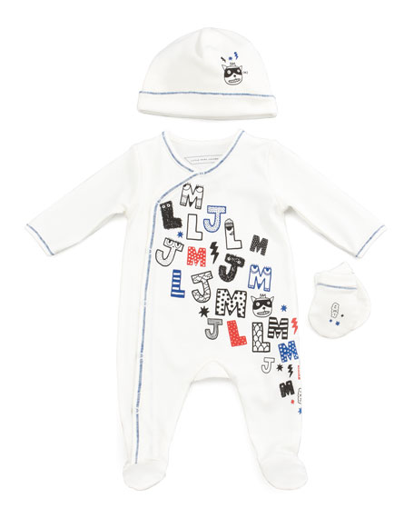Newborn Boys' LMJ Footie, Hat & Mitt Gift Set, Off White