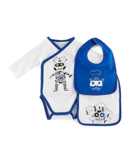 Long-Sleeve Astronaut Playsuit & Bib Set, Off White, 3-12 Months