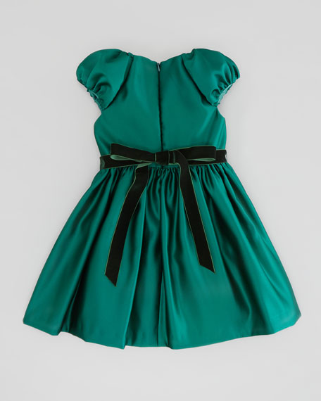 Satin Cap-Sleeve Dress, Green, Sizes 2-10Y