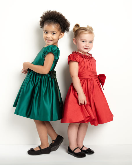 Rosette-Collar Silk Dress, Red, Sizes 2-6Y